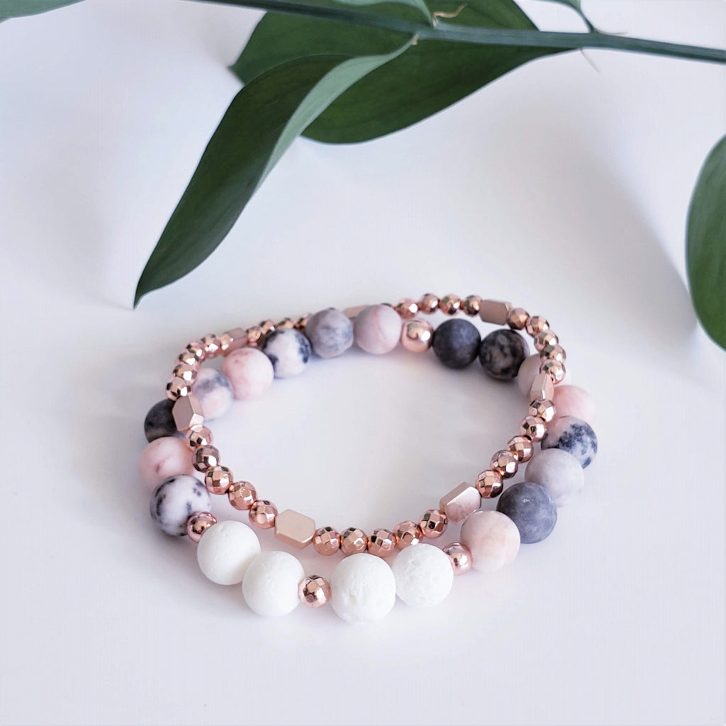 The Kupa'a Rose Gold or Gold Hematite Stacker Bracelet - Kokua Collective
