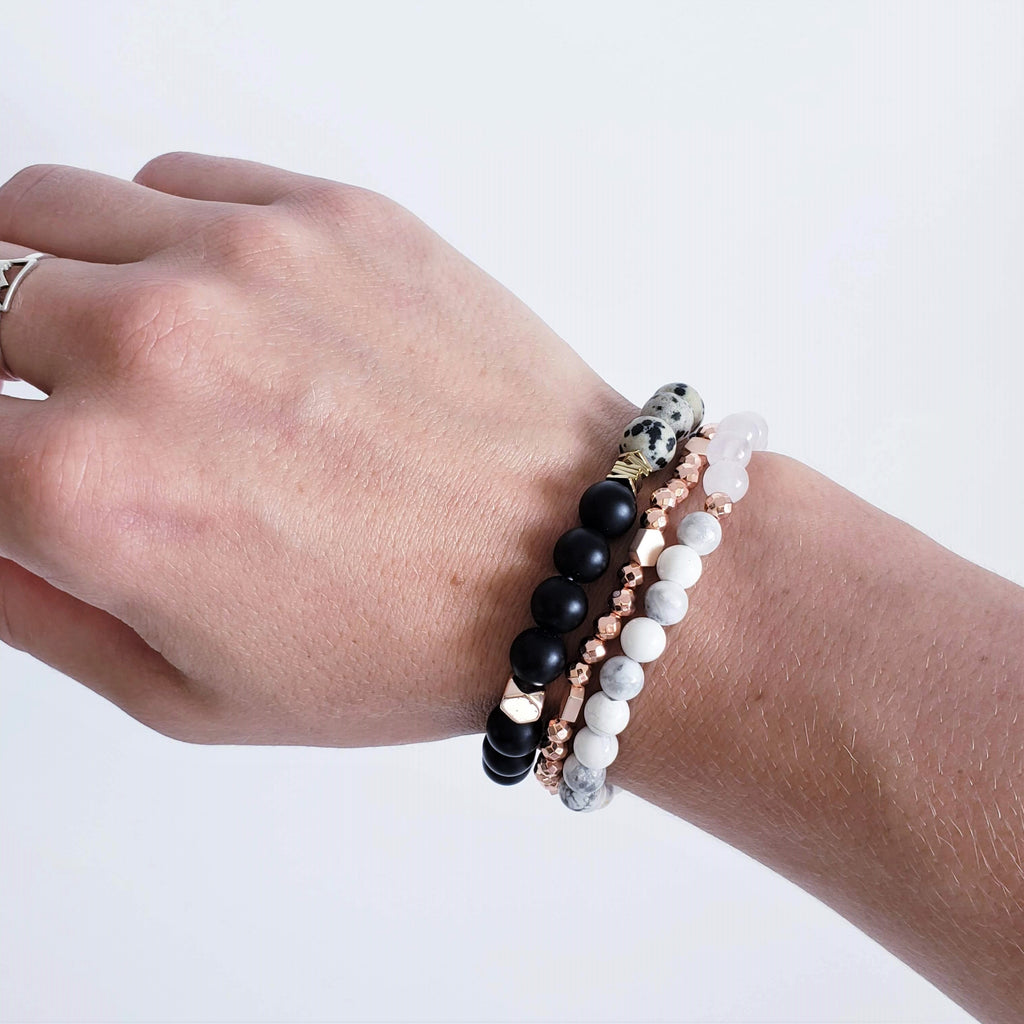 The Mālama Dalmatian Jasper + Black Onyx Gemstone Bracelet - Kokua Collective