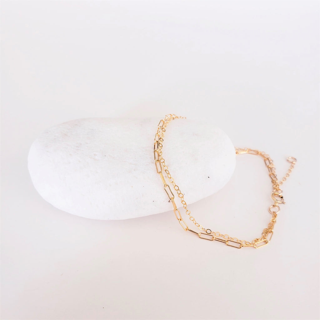 gold paperclip drawn cable chain and flat cable chain bracelet