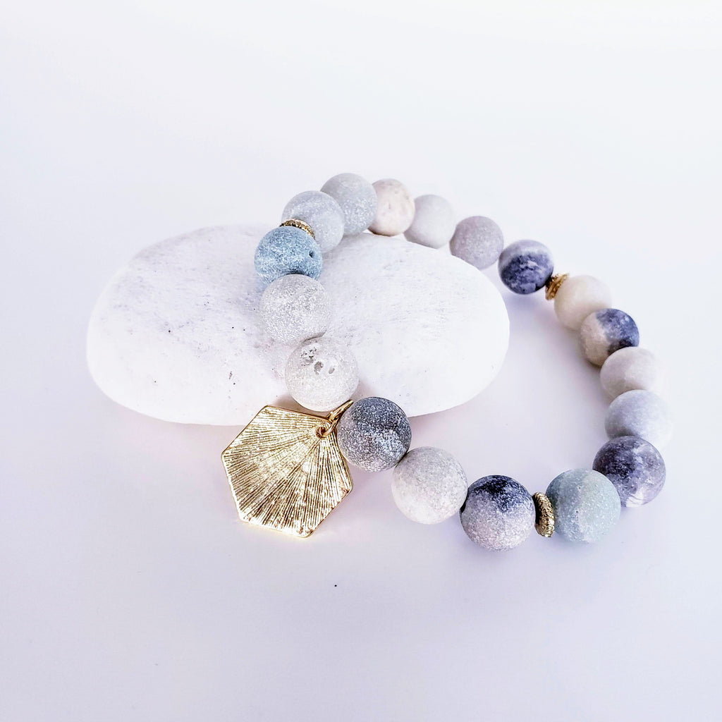 The Goulburn Bracelet | Amazonite Gemstone & Hex Charm