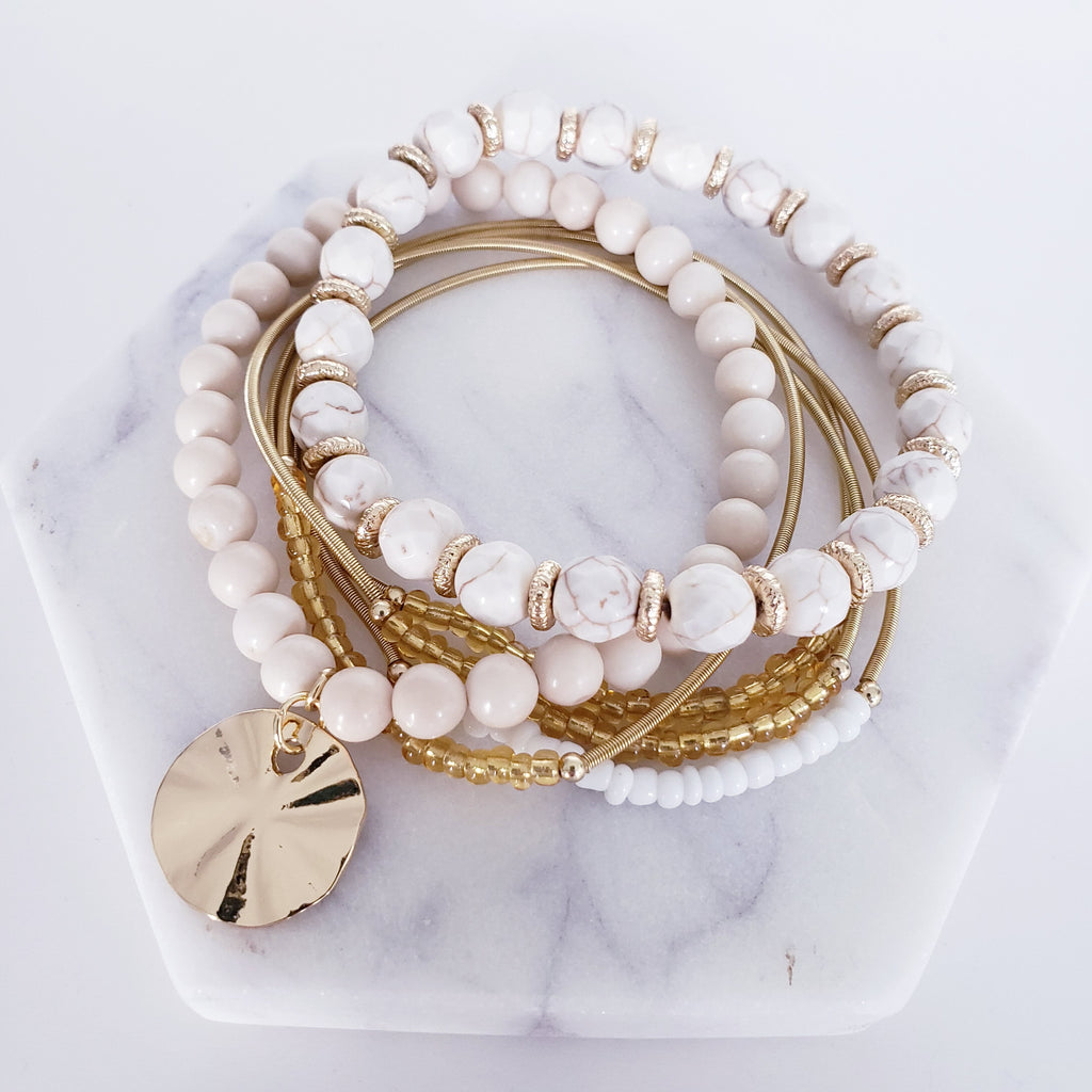 The Santiago Sand Dollar Bracelet Set | Riverstone & Luxe Coil Stackers