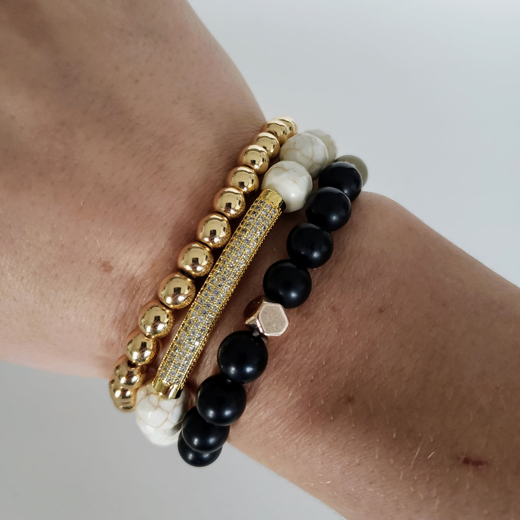 The Seychelles Bracelet | Gold Hematite Gemstone
