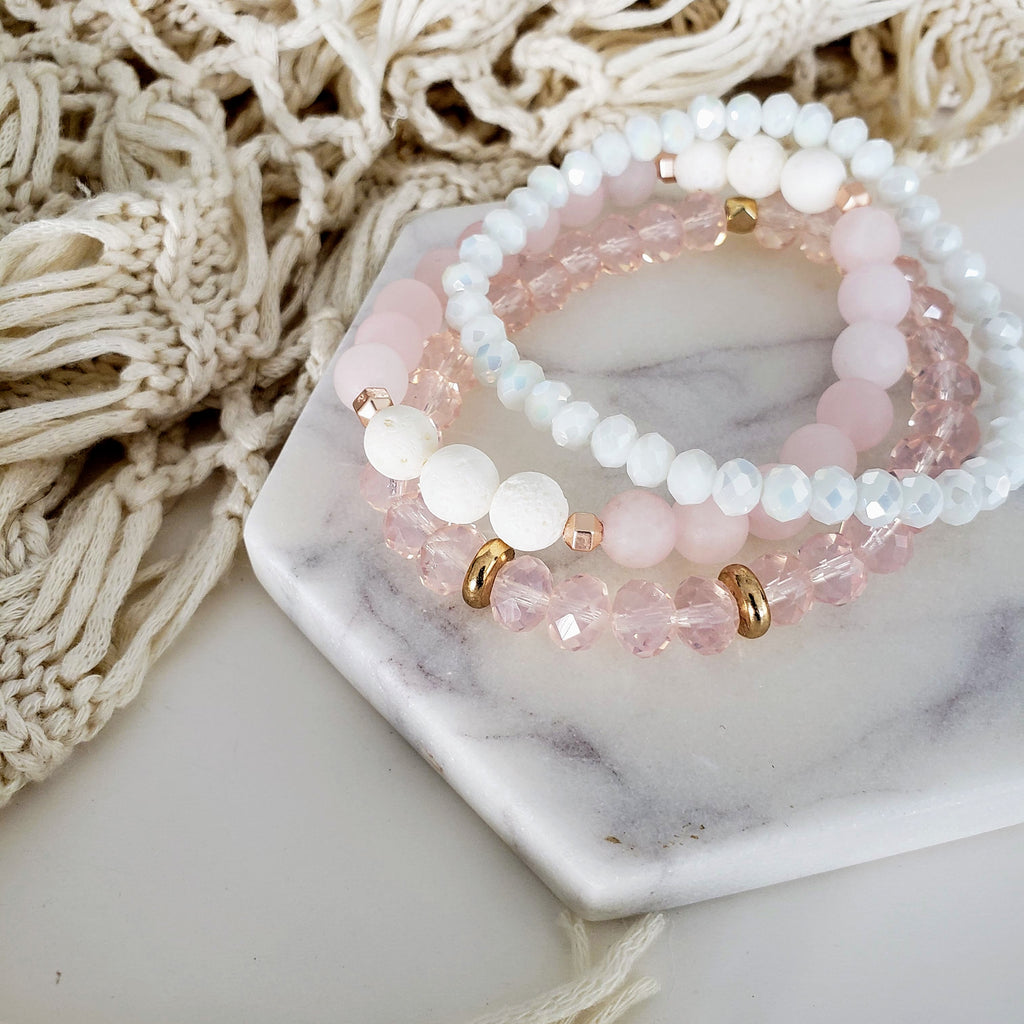 The Sula Bracelet | Rose Crystal Faceted Glass