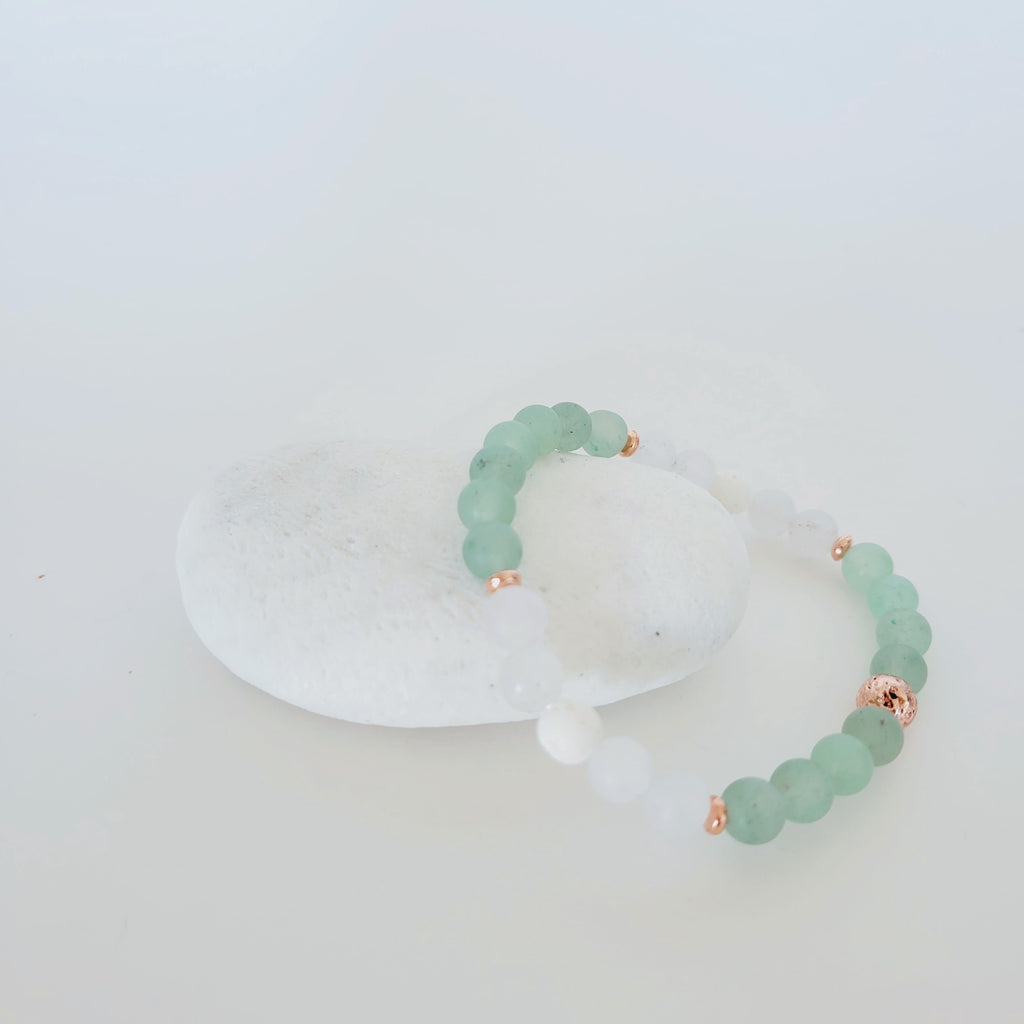 The Crete Gemstone Bracelet | Adventurine, White Lava + Quartz