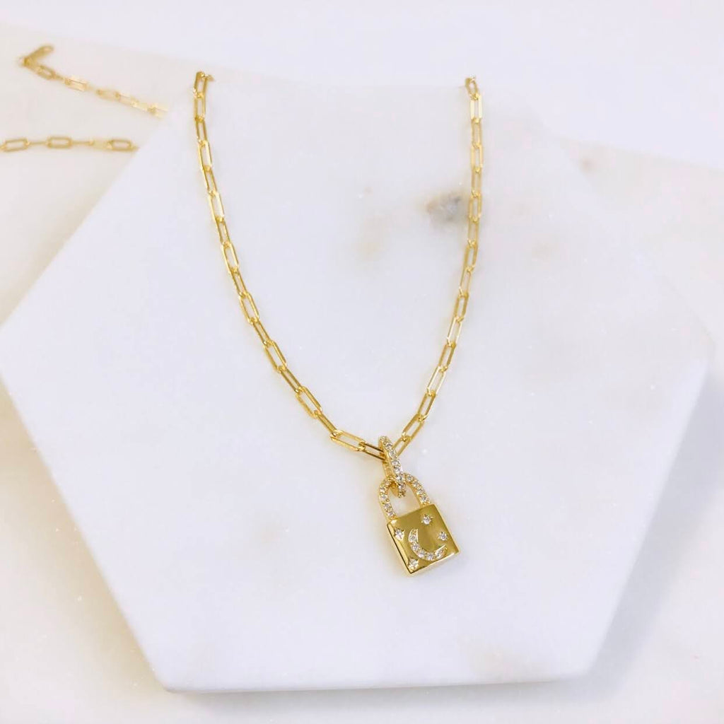 14kt gold lock paperclip necklace | kokua collective