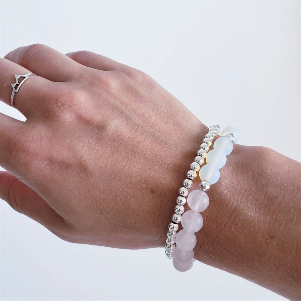 The Mana Gemstone Bracelet - Rose Quartz + Opal - Kokua Collective