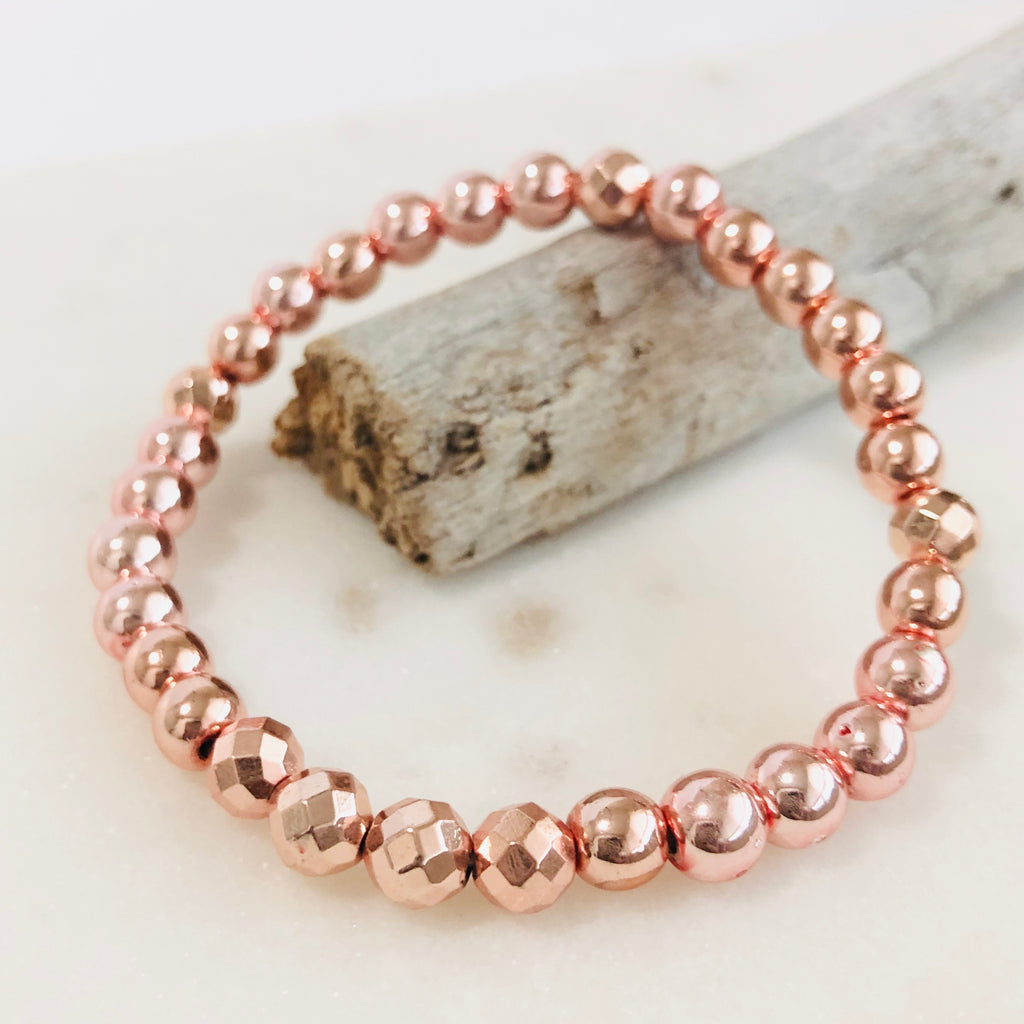 rose gold hematite stacker bracelet gemstone