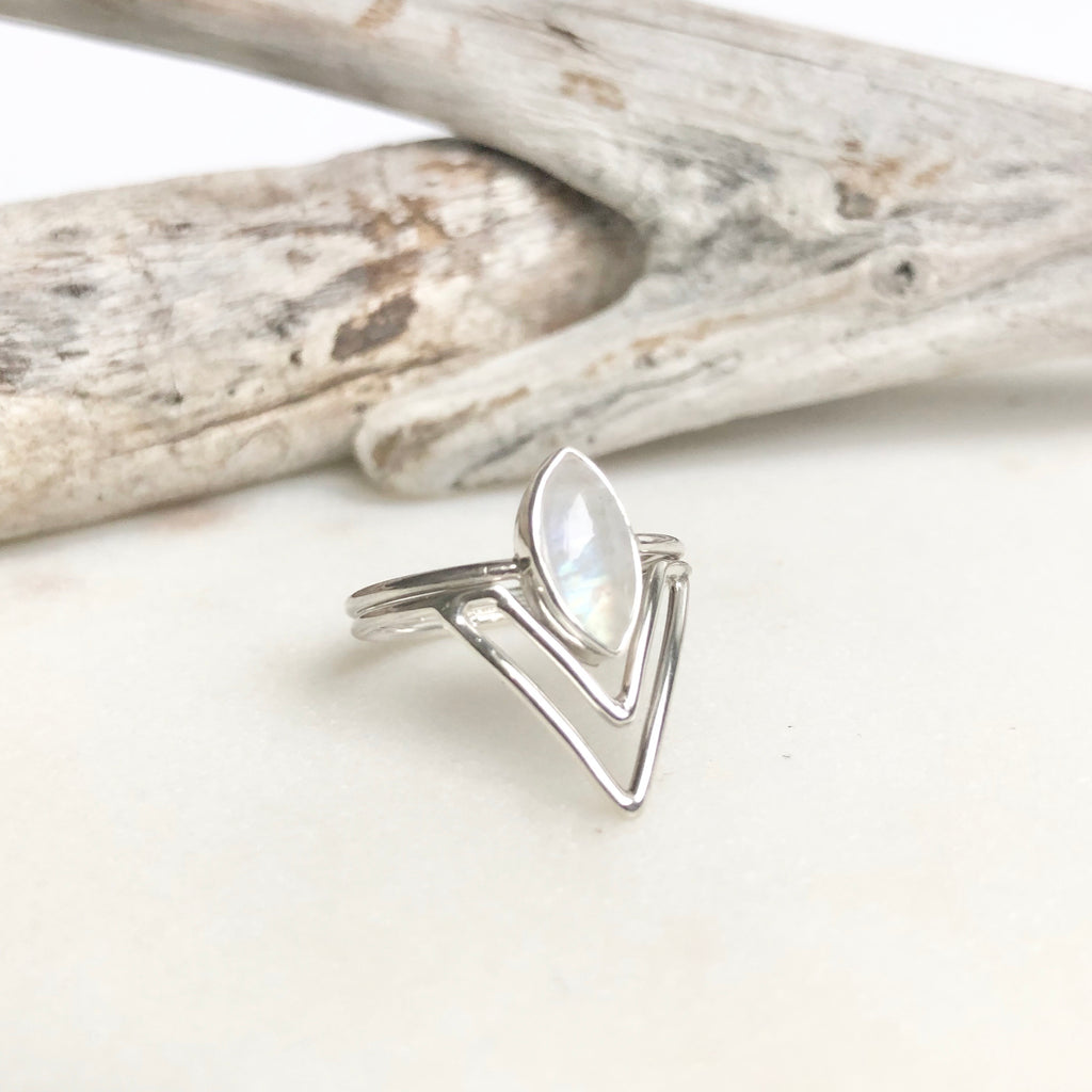 Rainbow Moonstone Ring - With Attached Stacker - Kokua Collective