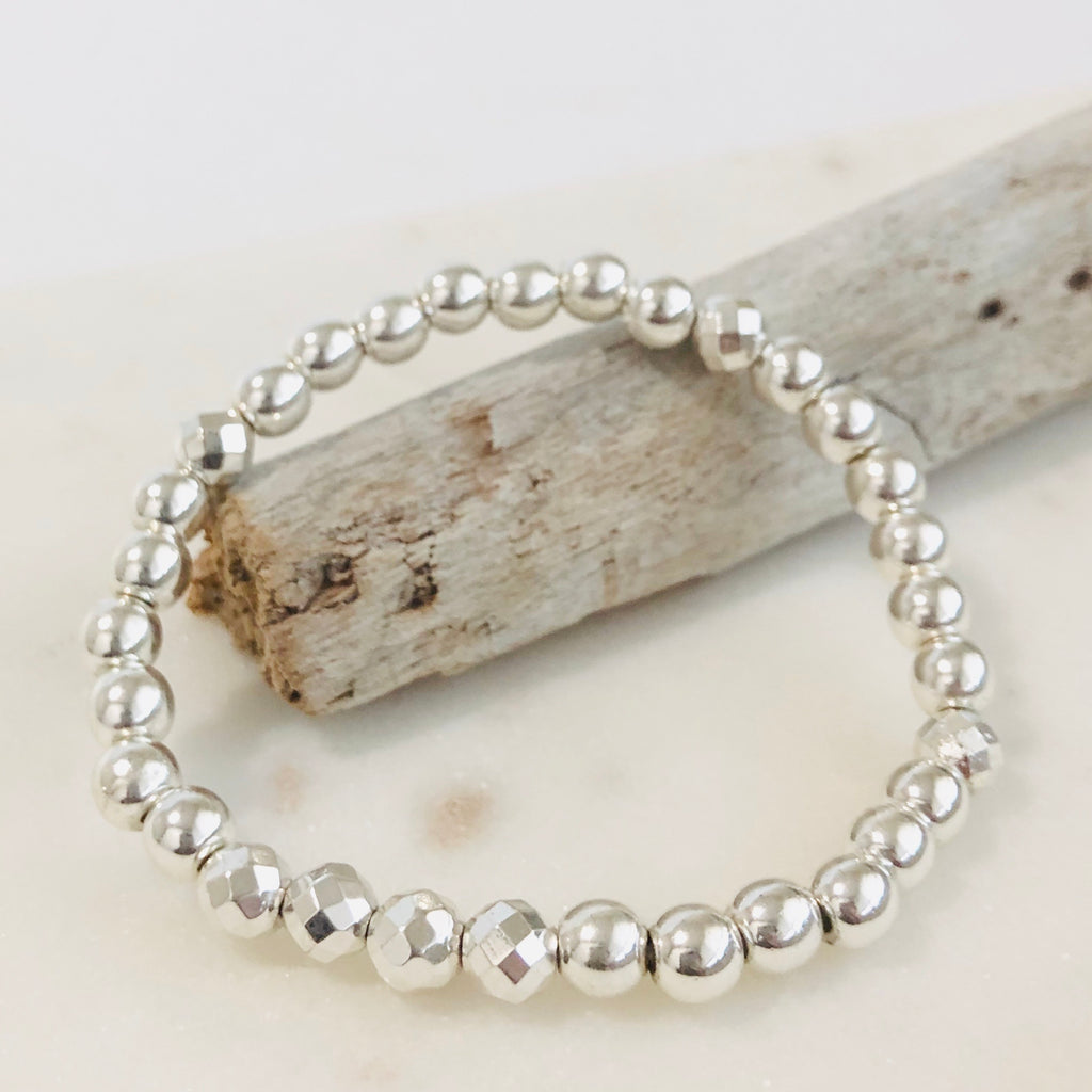 The Koa - Silver Hematite Stacker Bracelet