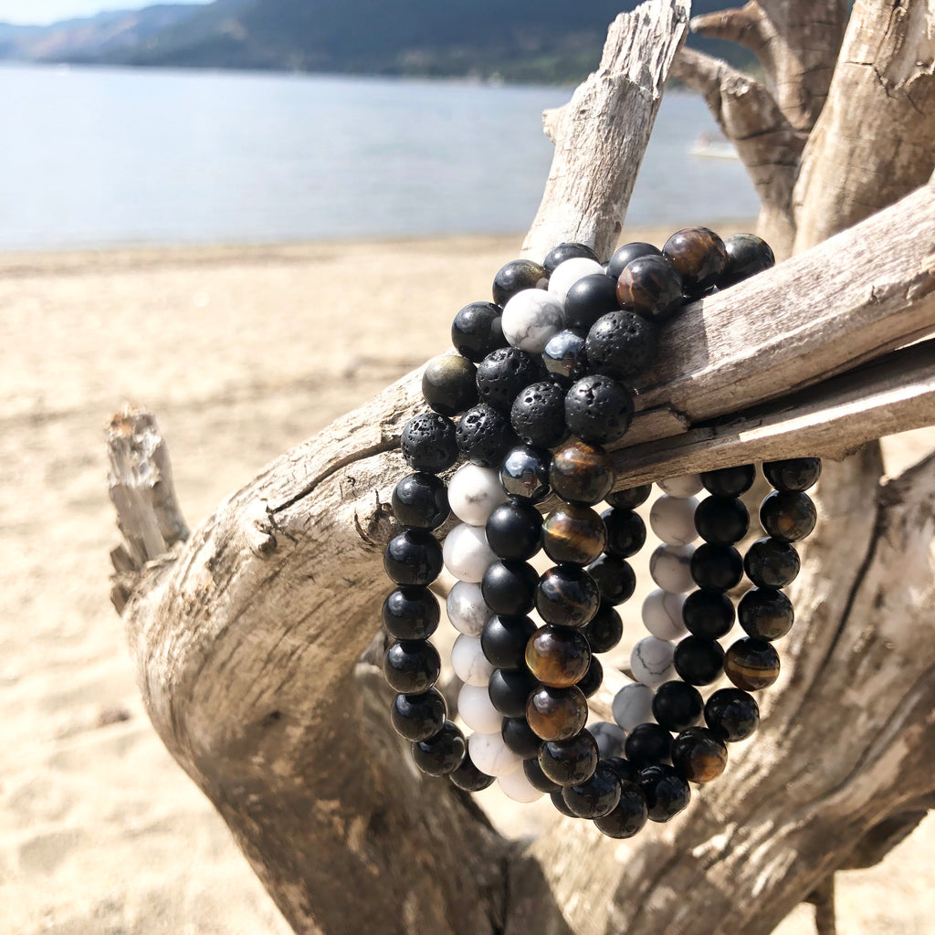 The 'Onika Gemstone Bracelet - Men's Black Onyx and Lava Stone - Kokua Collective