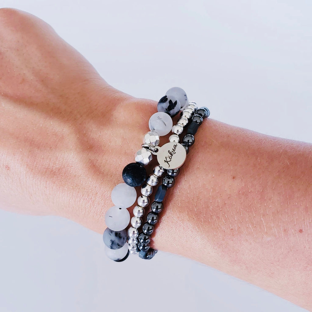 The Lokahi Gun Metal Hematite Stacker Bracelet - Kokua Collective