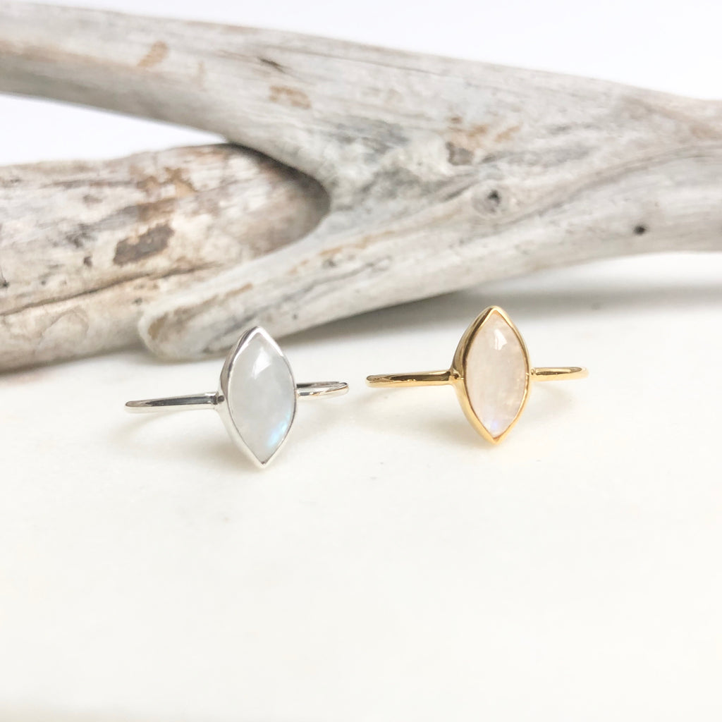 Rainbow Moonstone Ring - Sterling Silver + 14k Gold Plated - Kokua Collective