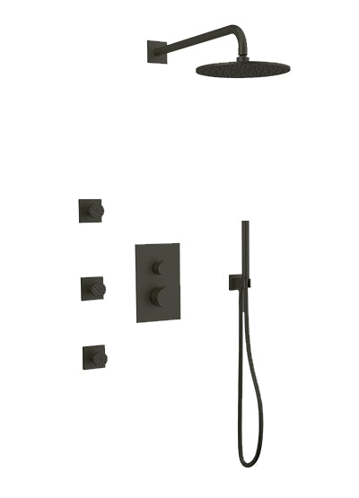 PS129 - Otella Shower Set with Body Jets, Hand Held, Wall Mount Shower Head Round/Square