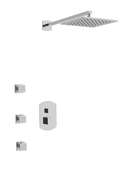 PS134 - Safire Shower Set with Body Jets, Wall Mount Shower Head Curved