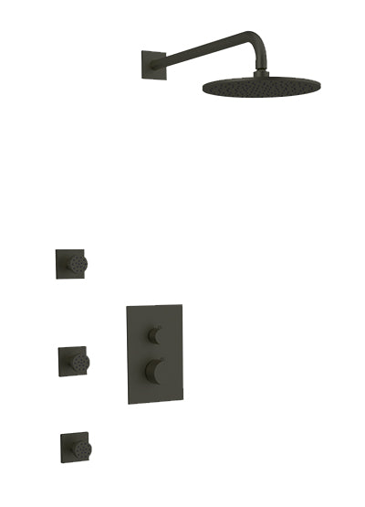 PS133 - Otella Shower Set with Body Jets, Wall Mount Shower Head Round/Square