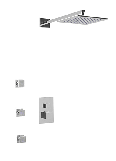 PS131 - Milan Shower Set with Body Jets Wall Mount Shower Head Square
