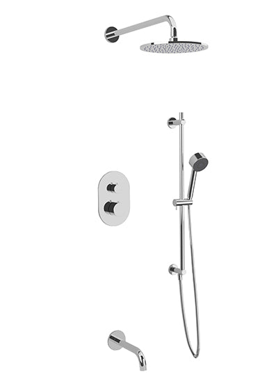 PS116 - Opera Shower Set with Tub Filler, Slide Bar, Wall Mount Shower Head Round