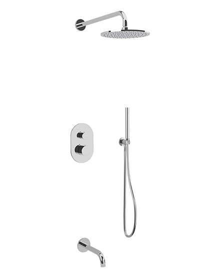 PS120 - Opera Shower Set with Tub Filler, Hand Held, Wall Mount Shower Head Round