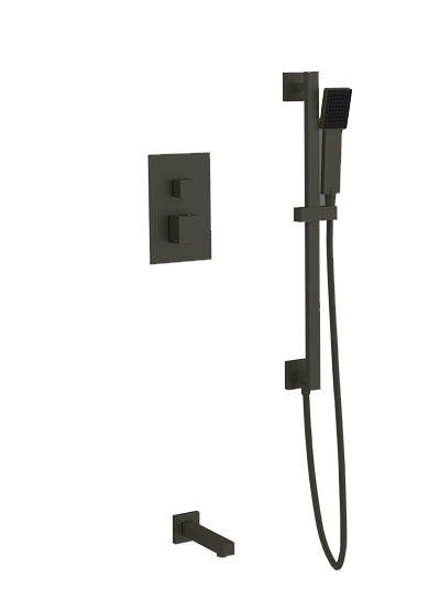 PS147 - Milan Shower Set with Slide Bar, Tub Filler Square