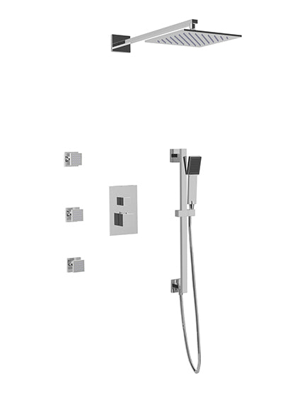 PS123 - Milan Shower Set with Body Jets, Slide Bar, Wall Mount Shower Head Square