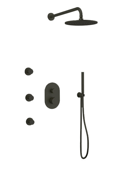 PS128 - Opera Shower Set with Body Jets, Hand Held, Wall Mount Shower Head Round