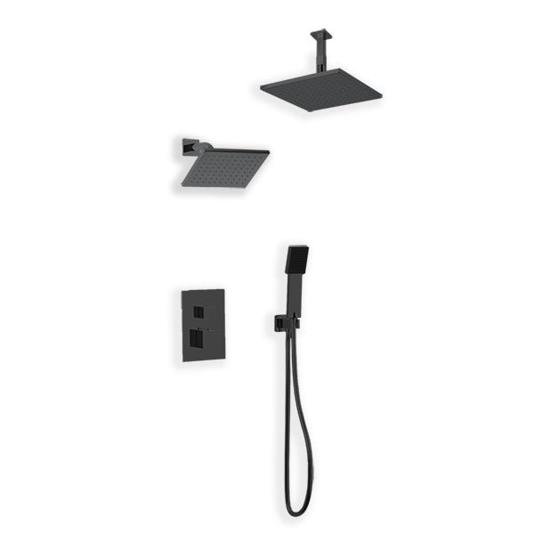 PS107 - Milan Shower Set with Handheld, Wall Mount Shower Head, Ceiling Mount Shower Head Square