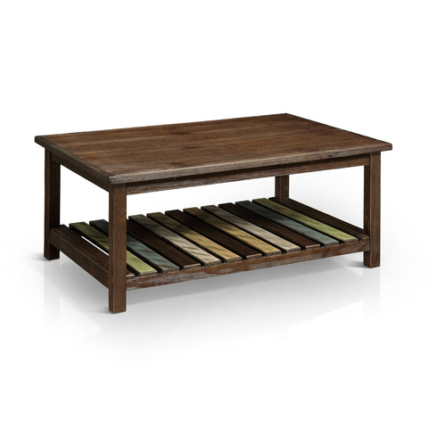 Valdera Transitional Slatted Brown Cherry Coffee Table