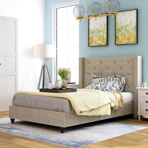Valero Contemporary Tufted Fabric Wingback Bed