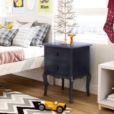 Blue Camilla Traditional 2-Drawer Youth Nightstand