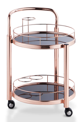 Adana Contemporary Tinted Glass 2-Tier Rose Gold Serving Cart