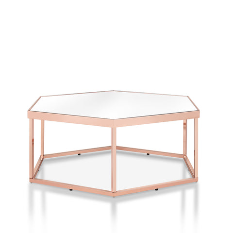 Curtsinger Glam Rose Gold Coffee Table