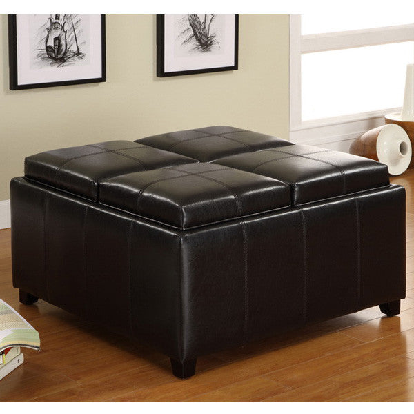 Bayfield Espresso Leatherette Finish Storage Ottoman Set