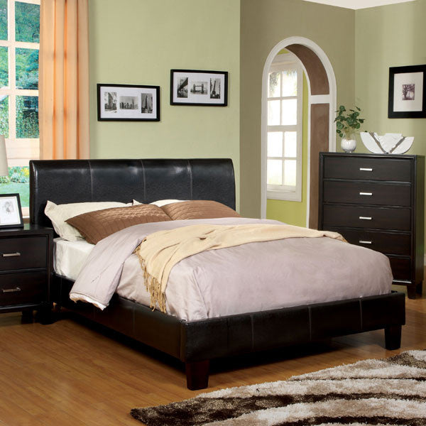 Villa Contemporary Espresso Leatherette Platform Bed