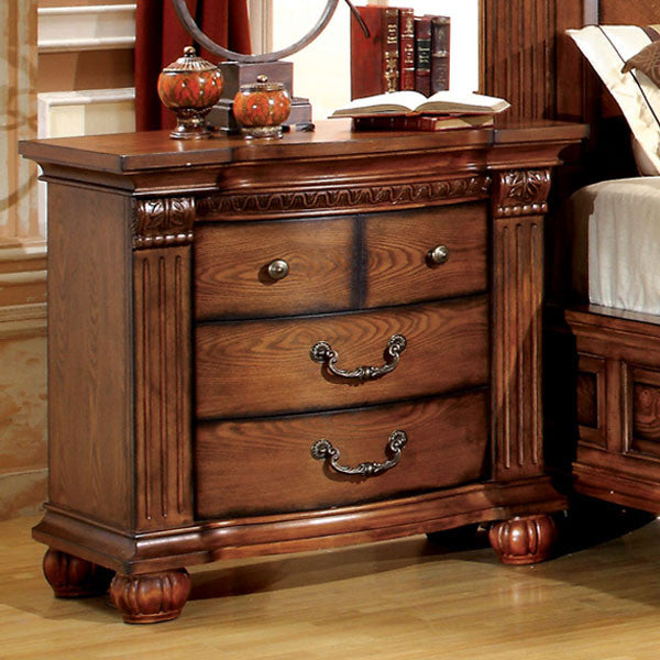 Bellagrand English Style Antique Tobacco Oak Finish Nightstand