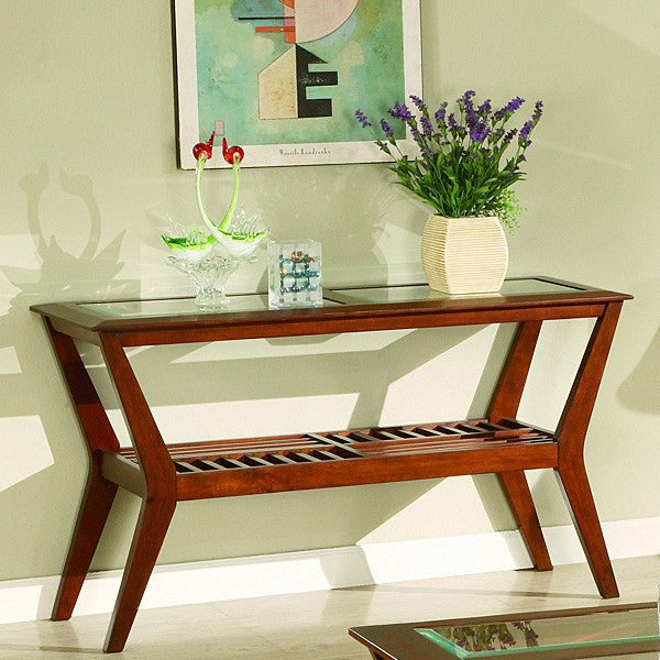 Lester English Toffee Finish Glass Top Sofa Table