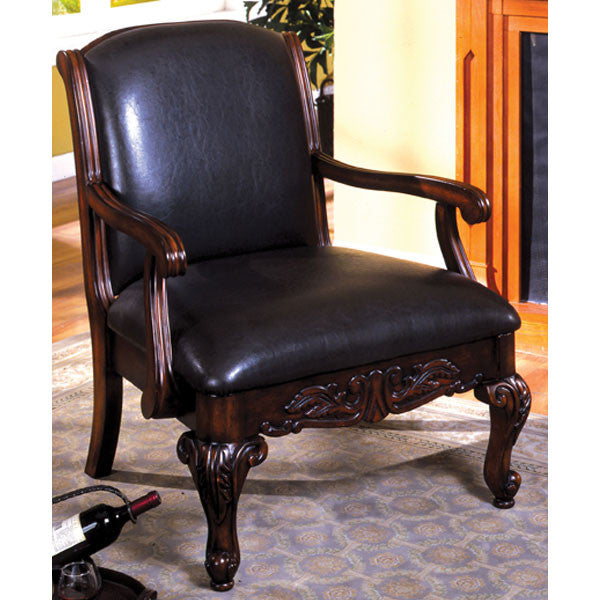 Sheffield Classic Antique Dark Cherry Leatherette Accent Chair