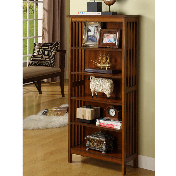 Sanca Mission Style Charter Oak Finish Bookcase Display Stand