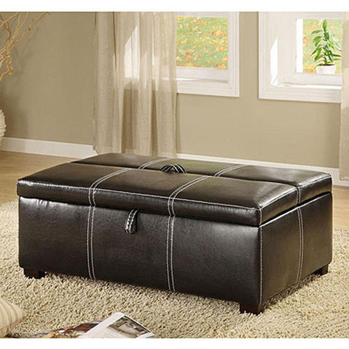 Apolline Leatherette Ottoman with Hidden Bed