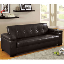 Logan Espresso Leatherette Finish Sofa Futon Set