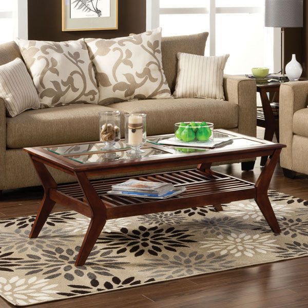 Virginia Mission Style Dark Cherry Finish Coffee Table