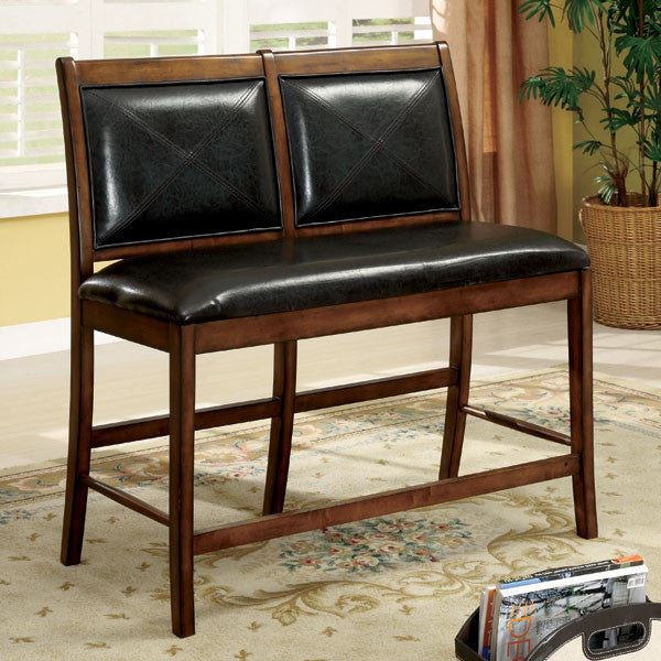 Luna Mission Style 2-Seat Leatherette Counter Height Chair
