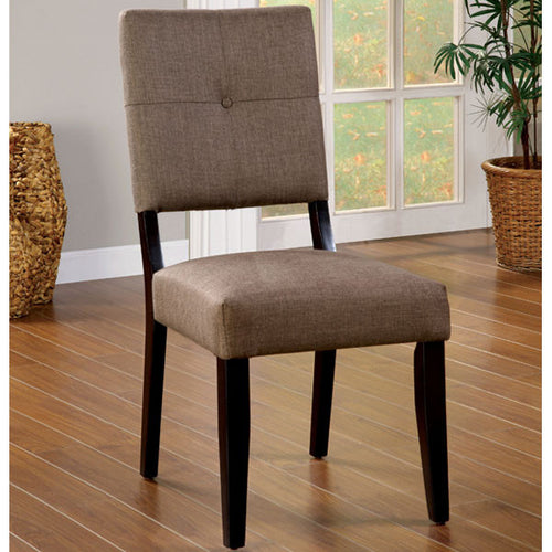 Bay Side Espresso Finish Fabric Padded Dining Chair