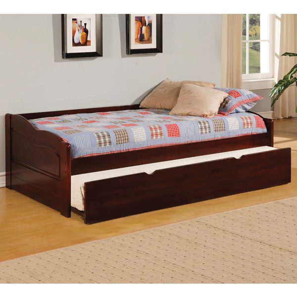 Sunset Dark Cherry Finish Daybed with Twin Trundle Set