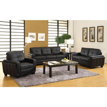 Dyer Contemporary Style Black Leatherette Finish Sofa Set