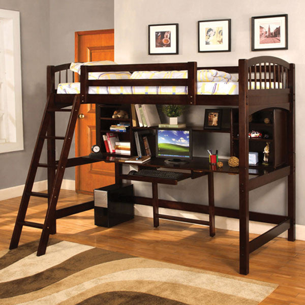 Hayden Mission Style Espresso Finish Youth Twin Size Loft Bed