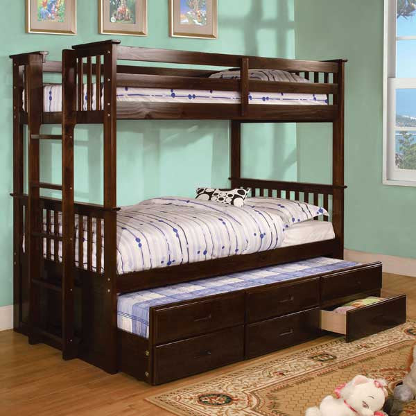 Somerset Mission Style Dual Twin Size Bunk Bed With Trundle