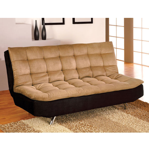 Mancora Microfiber Camel & Black Finish Sofa Futon Set