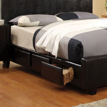 Burlington Contemporary Style Espresso Leatherette Finish Bed Frame Set