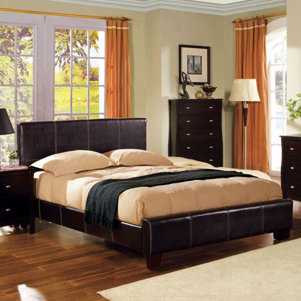 Uptown Contemporary Style Espresso Leatherette Finish Bed Frame Set
