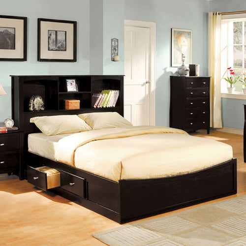 Brooklyn Transitional Espresso Bookcase Headboard Platform Bed